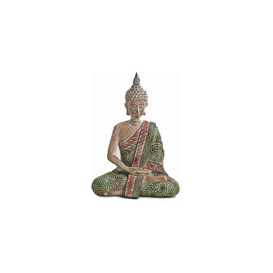Decoratie Boeddha beeldje groen/bruin 20 cm