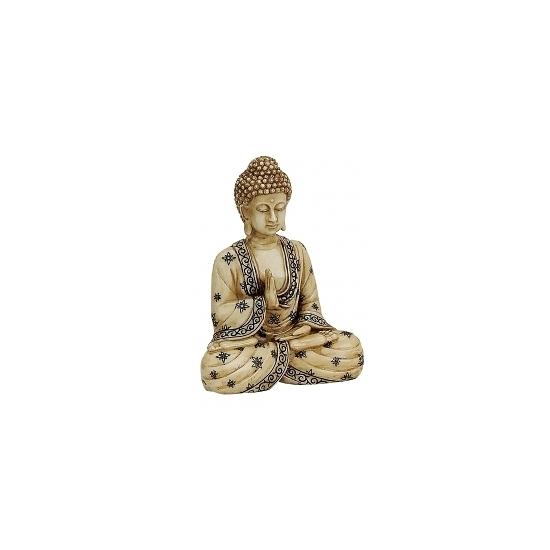 Polystone Boeddha beeldje beige 16 cm