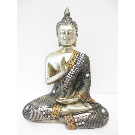 Zilver Boedha beeld van polyresin 17 cm