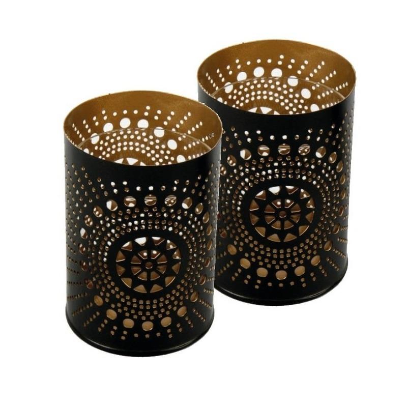 2x Metalen kaarsenhouders zwart/koper