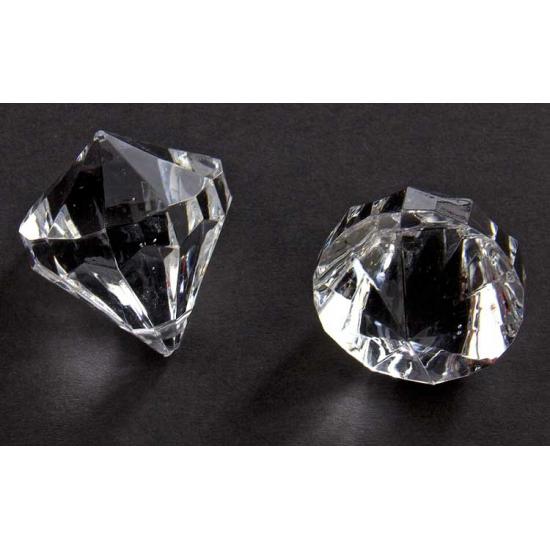 2x stuks deco Diamantjes transparant 30 mm