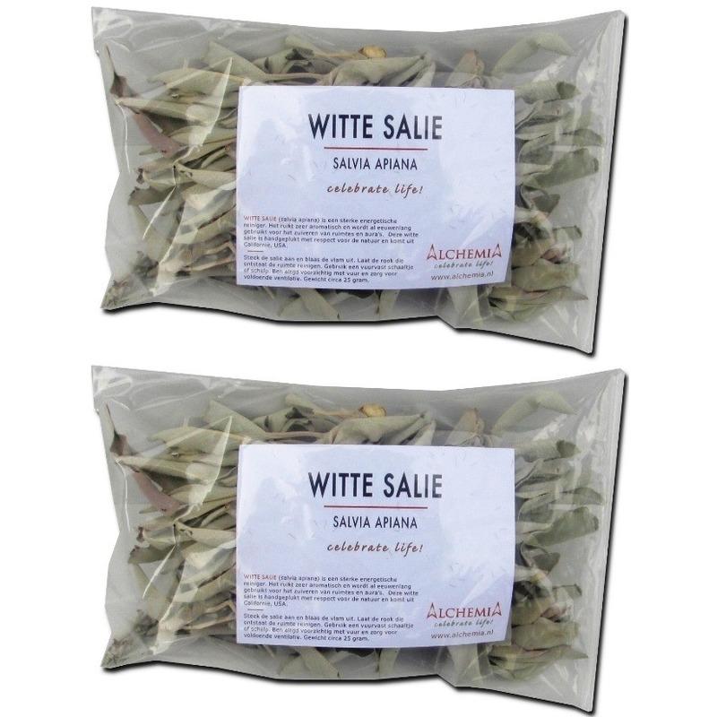 2x Zuiverende losse witte salie bladeren/blaadjes