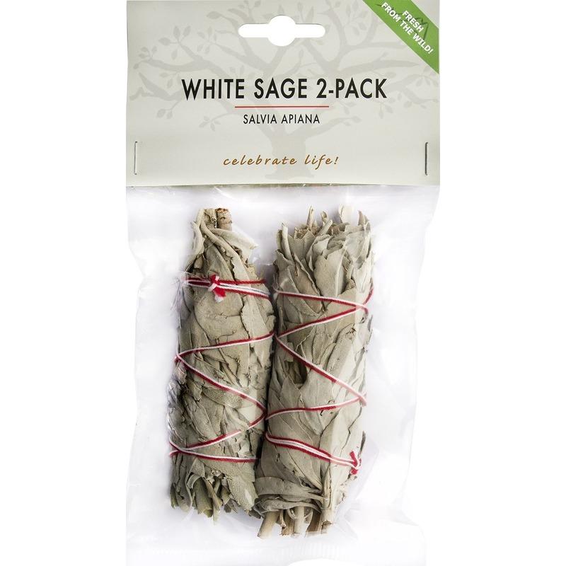 2x Zuiverende witte salie bladeren/blaadjes sticks