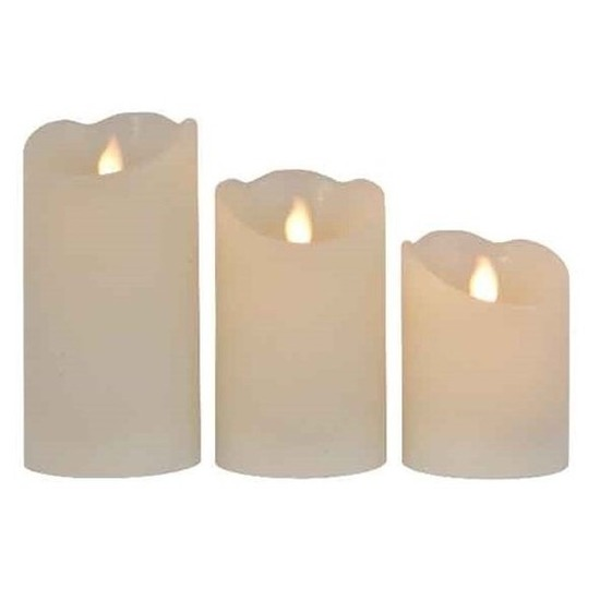 3x Creme witte LED kaarsen-stompkaarsen met afstandsbediening