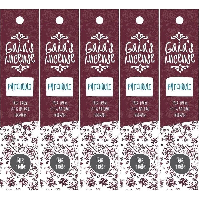 5x Wierook patchouli stokjes voor energie Gaias Incense