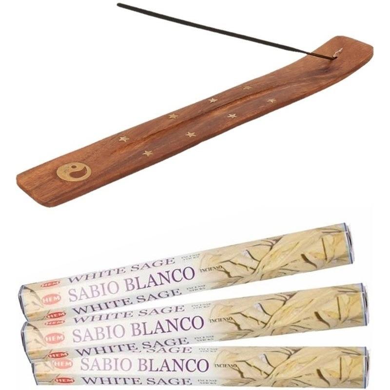 60x Wierook zuiverende witte salie stokjes met houten Ying Yang stokjeshouder