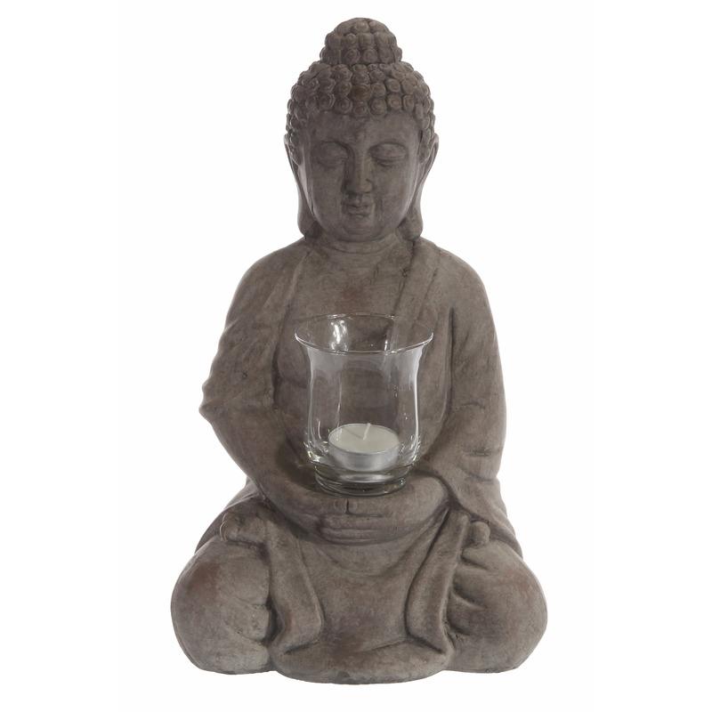 Beeld van Boeddha met waxinelichthouder