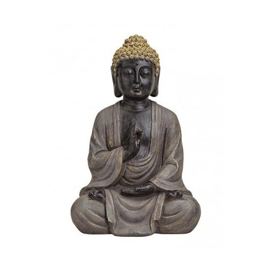 Boeddha beeld bruin/goud van polystone 40 cm