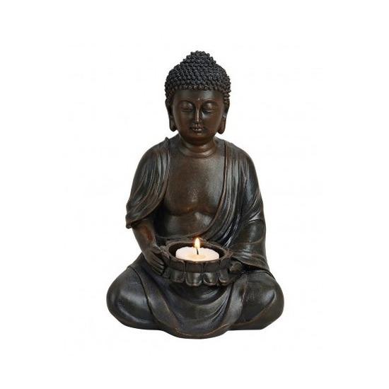 Boeddha beeld bruin met theelichthouder 23 cm
