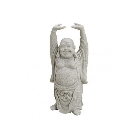 Boeddha beeld grijs 16 cm van polystone