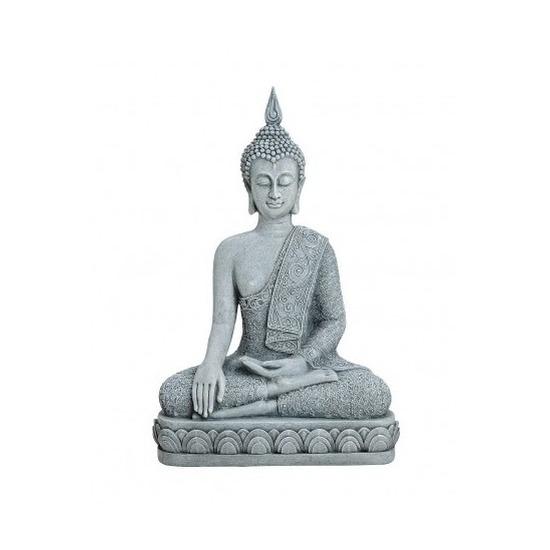 Boeddha beeld grijs 39 cm van polystone