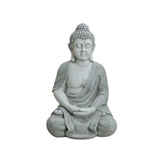 Boeddha beeld grijs 62 cm van polystone