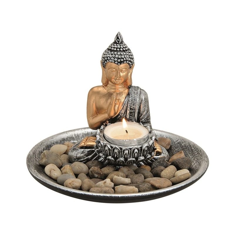 Boeddha beeld zilver op ronde schaal met theelichthouder 16 cm