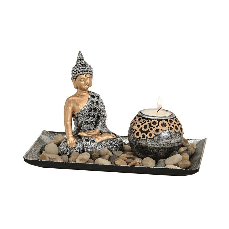 Boeddha beeld zilver op schaal met theelichthouder 16 cm
