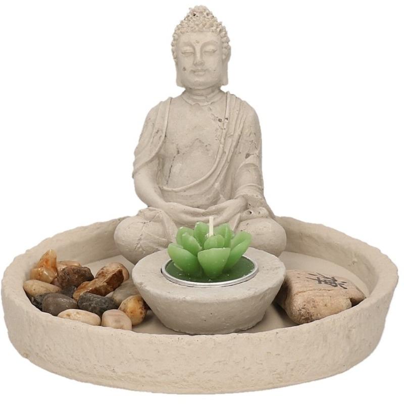 Boeddha beeldje 14cm met een rond zen tuintje