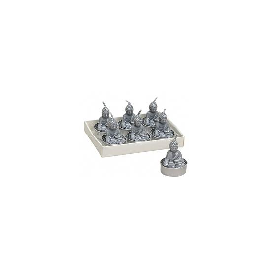 Boeddha lichtjes zilver 6 stuks 5 cm.