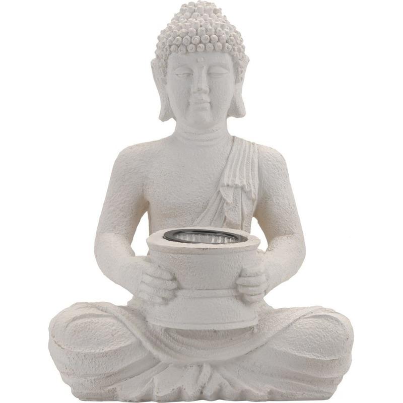 Boeddha tuinbeeld met lampje 31 cm