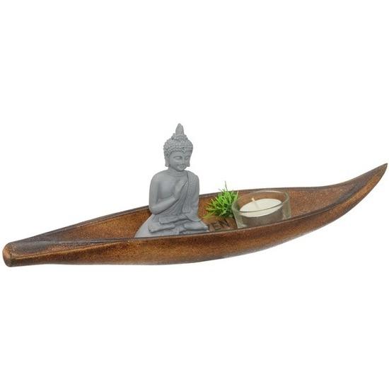 Boeddhabeeldje met houten onderbord en accessoires