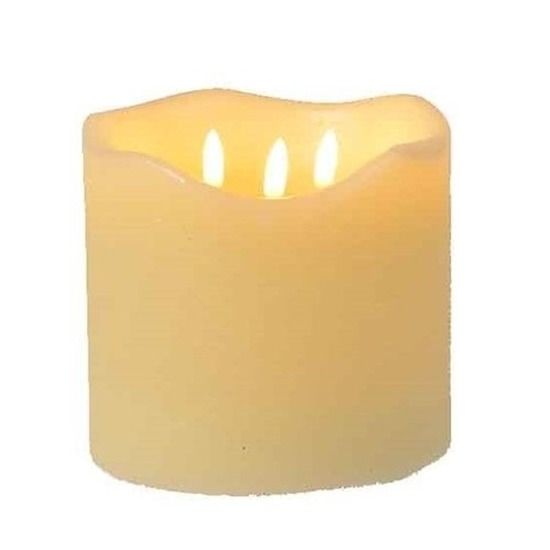 Creme witte LED kaarsen-stompkaarsen 15 cm 3 lontjes