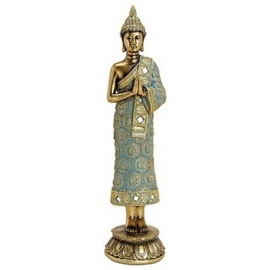 Decoratie beeld Boeddha goud staand 36 cm