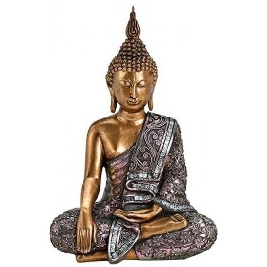 Decoratie beeld Boeddha goud/zilver 34 cm