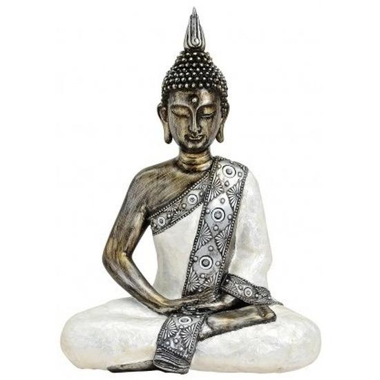 Decoratie beeld Boeddha wit/zilver 41 cm