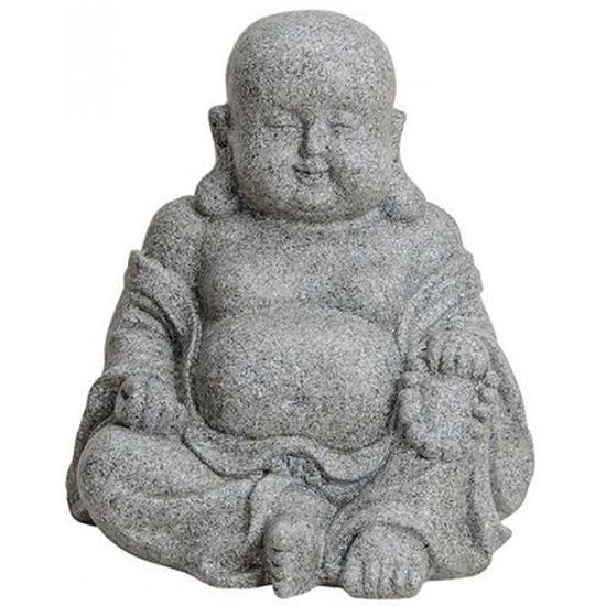 Decoratie beeld Boeddha zitten steen look 31 cm