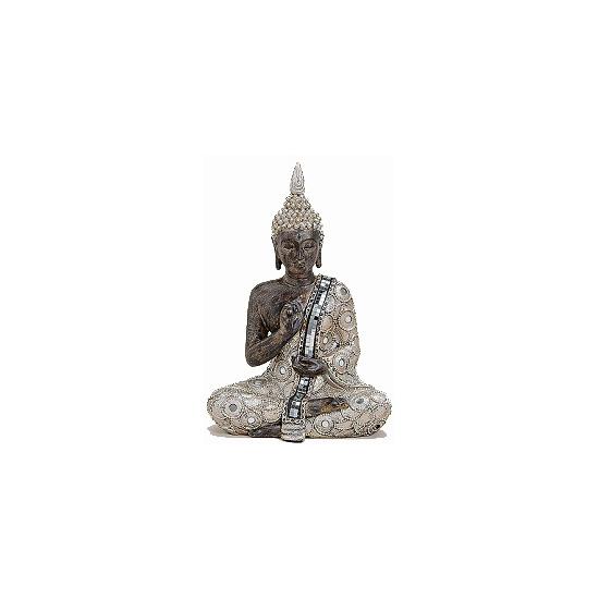 Decoratie Boeddha beeld zilver/bruin 27 cm