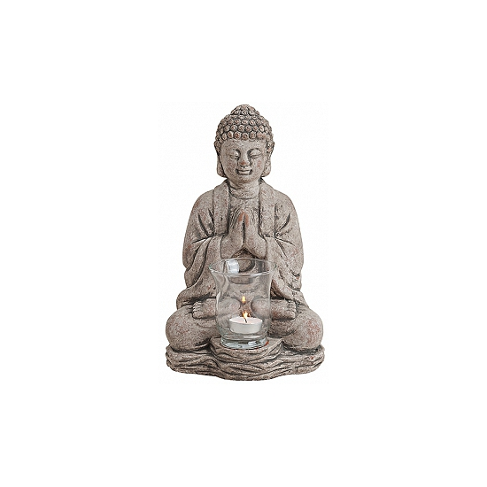 Decoratie Boeddha theelichthouder grijs 30 cm