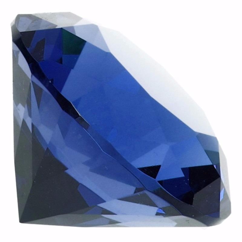 Decoratie diamanten-edelstenen-kristallen blauw 5 cm