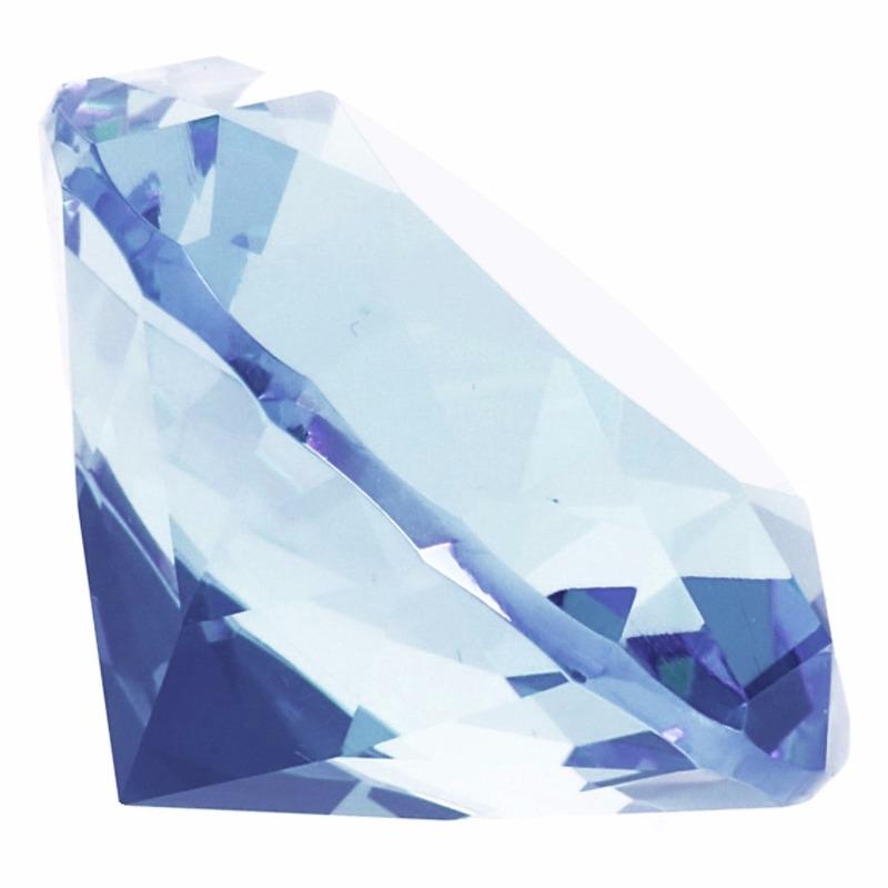 Decoratie diamanten-edelstenen-kristallen lichtblauw 4 cm