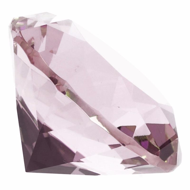 Decoratie diamanten-edelstenen-kristallen roze 5 cm