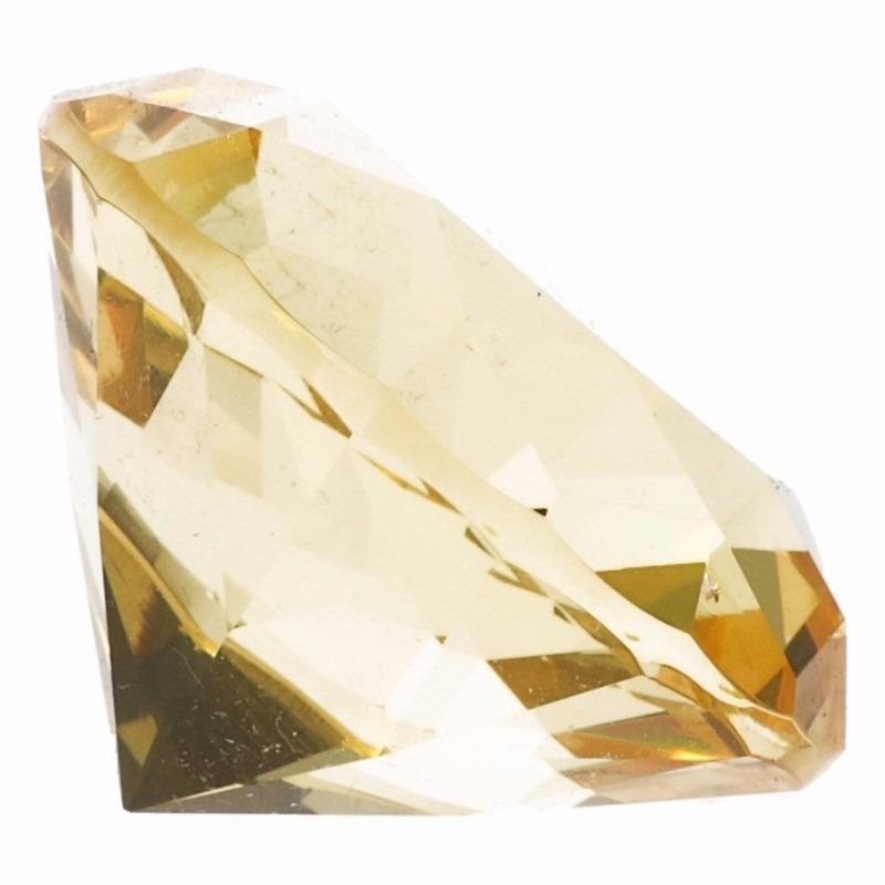 Decoratie namaak diamanten-edelstenen-kristallen geel 5 cm
