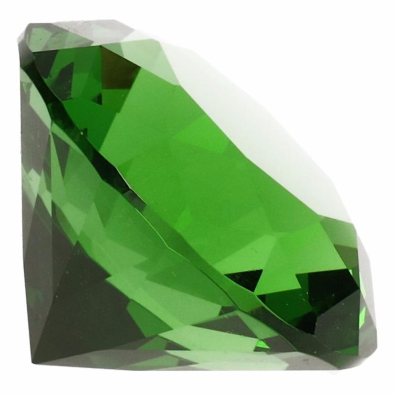 Decoratie namaak diamanten-edelstenen-kristallen groen 4 cm