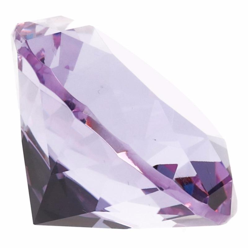 Decoratie namaak diamanten-edelstenen-kristallen lila paars 4 cm