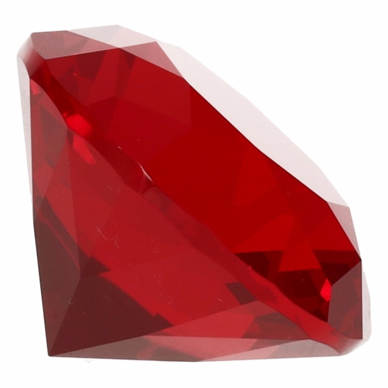 Decoratie namaak diamanten-edelstenen-kristallen rood 4 cm