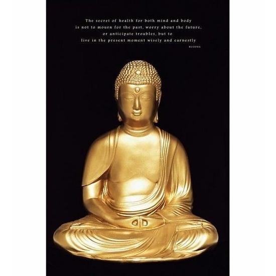 Deurposter boeddha goud 61x91cm