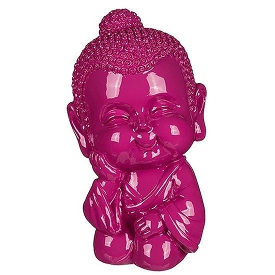 Geld spaarpot boeddha roze 13 cm