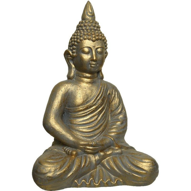 Goud boeddha tuinbeeld 61 cm lotushouding