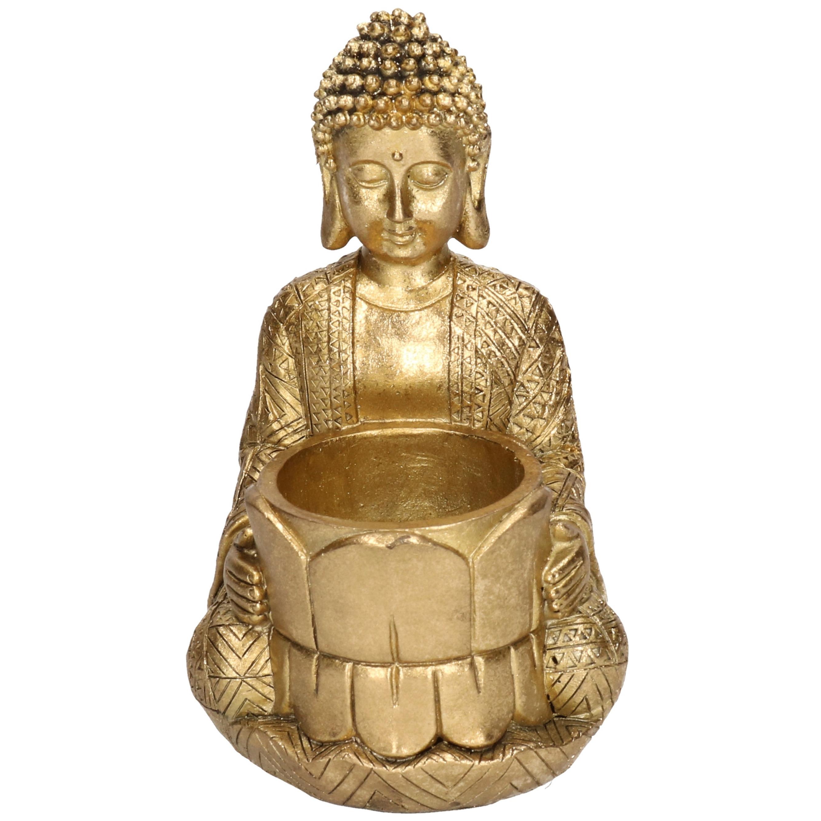 Gouden boeddha waxinelichthouder 14 cm