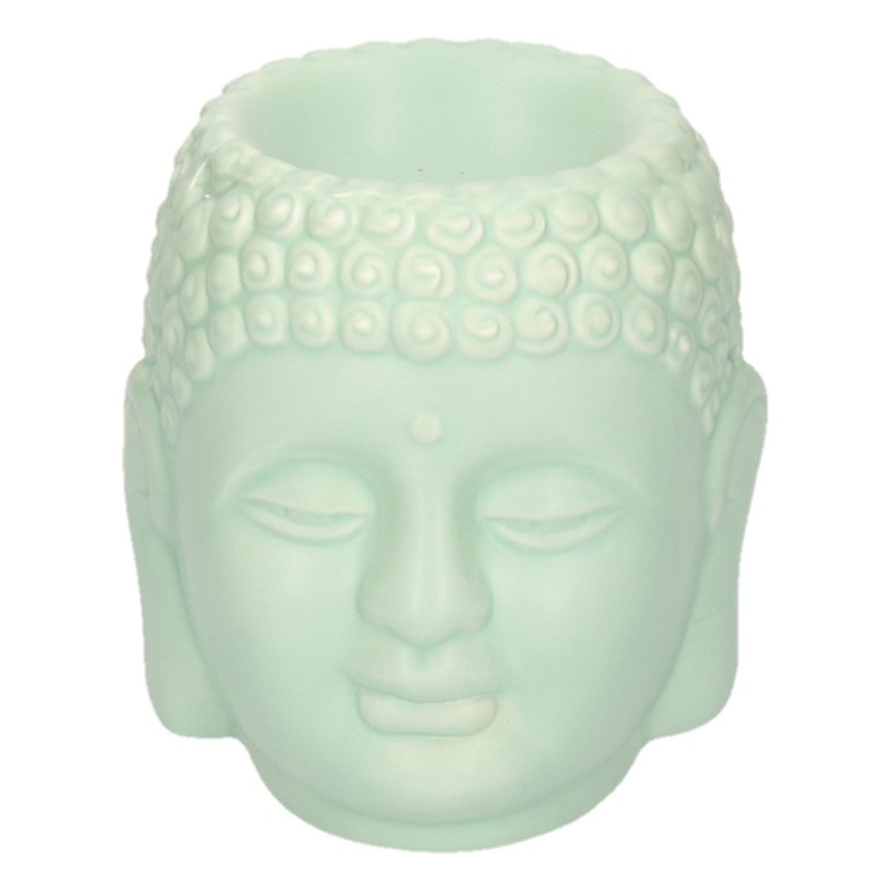 Groene Boeddha theelichthouder/waxbrander 14 cm