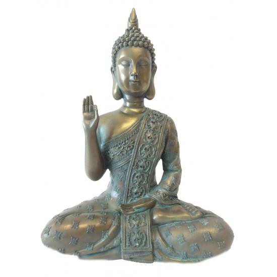 Grote polyresin Boeddha brons beeld 28 cm