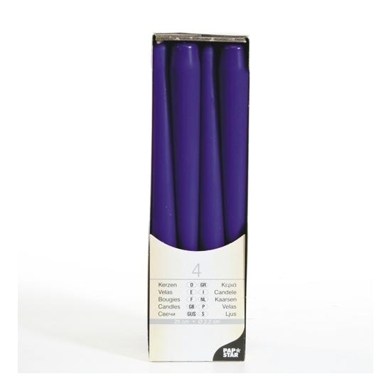 Kandelaar kaarsen paars 25 cm