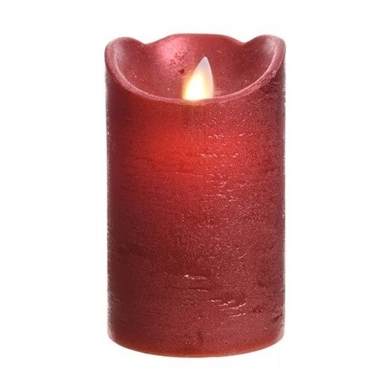Kerst rode LED kaarsen-stompkaarsen 12 cm flakkerend