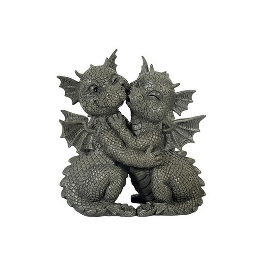 Kunststof beeldje kussende draken