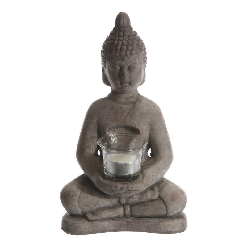 Mediterende Boeddha windlicht 27 cm