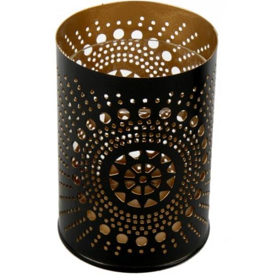 Metalen kaarsenhouder zwart/koper