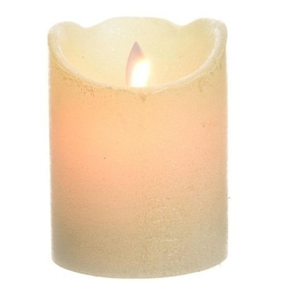 Parel witte LED kaarsen-stompkaarsen 10 cm flakkerend