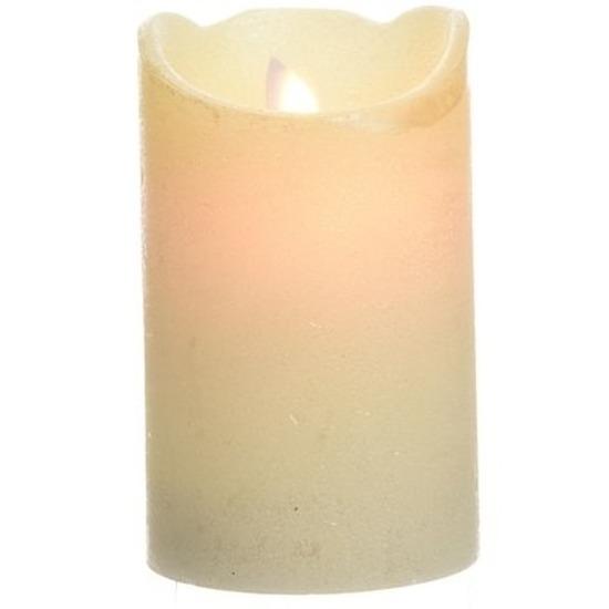 Parel witte LED kaarsen-stompkaarsen 12 cm flakkerend