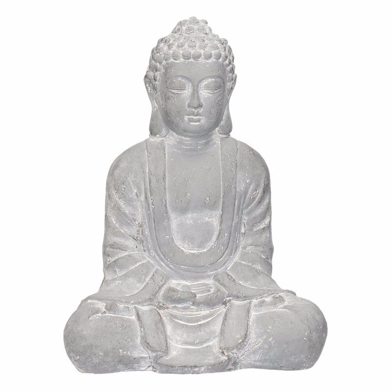 Polyhars Boeddha beeld blauw grijs 35 cm
